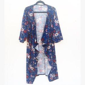 Lularoe Elegant Velvet Floral Rose Shirley Kimono